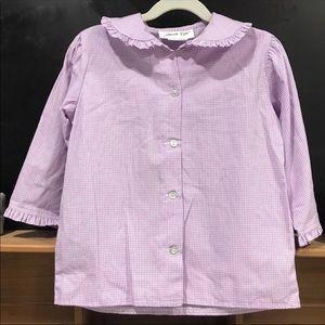 Hannah Kate 3/4 Sleeve Blouse Purple White Gingham